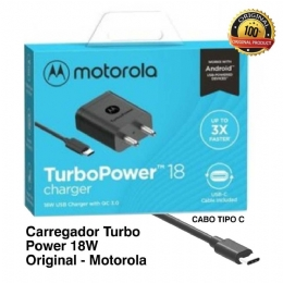 CARREGADOR MOTOROLA TURBO POWER 18W TIPE C - 26028